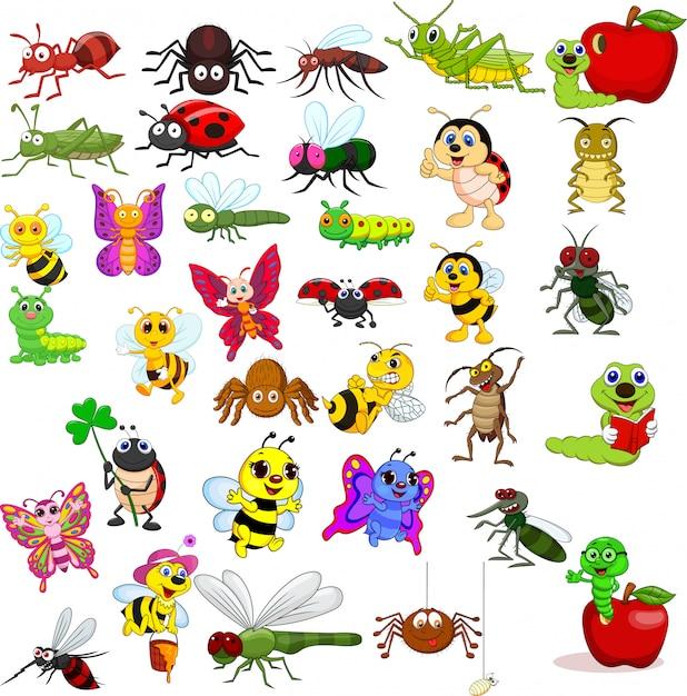 Coleção de insetos dos desenhos animados Vetor Premium