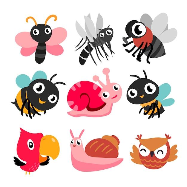 Coleção de insetos e pássaros Vetor Premium