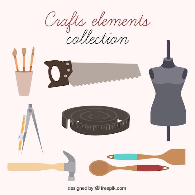 Coleção de itens de costura e artesanato Vetor grátis