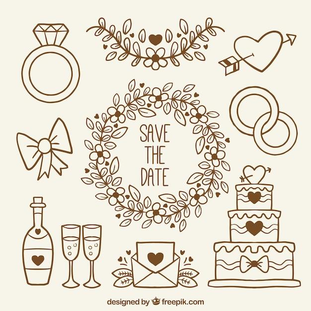 Coleção de itens desenhados à mão para casamentos Vetor grátis