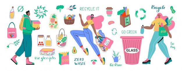 Coleção de itens ou produtos duráveis e reutilizáveis zero waste - frascos de vidro, sacolas ecológicas, talheres de madeira, pente, escova de dentes e escovas, caneca térmica. ilustração de conjunto plana Vetor Premium