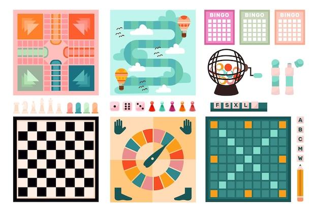 Coleção de jogos de tabuleiro Vetor grátis