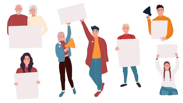 Coleção de jovens, homens e mulheres em pé e segurando a bandeira em branco. manifestantes ou ativistas masculinos e femininos. Vetor Premium