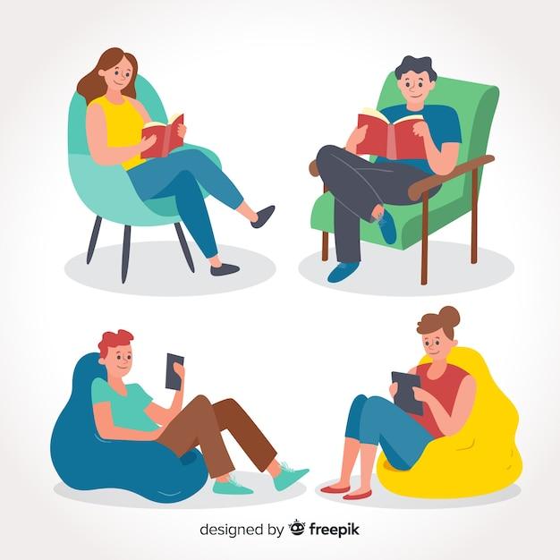 Coleção de jovens lendo Vetor grátis