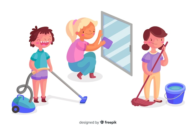 Coleção de jovens limpando a casa ilustrada Vetor grátis