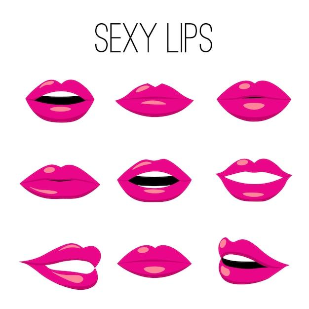 Coleção de lábios vermelhos Vetor Premium