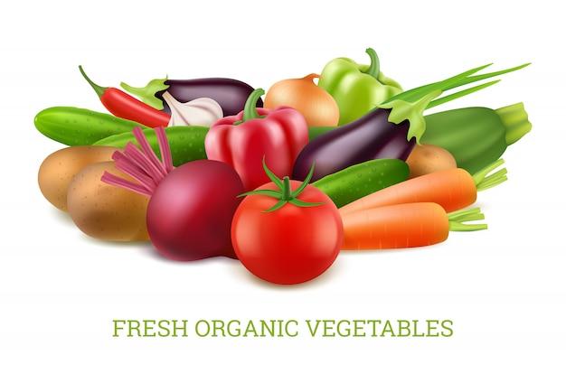 Coleção de legumes 3d. imagens realistas de nutrição saudável vegetariana orgânica Vetor Premium