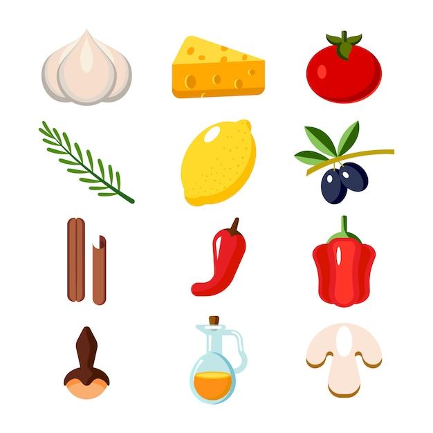 Coleção de legumes e elementos de cozinha Vetor Premium
