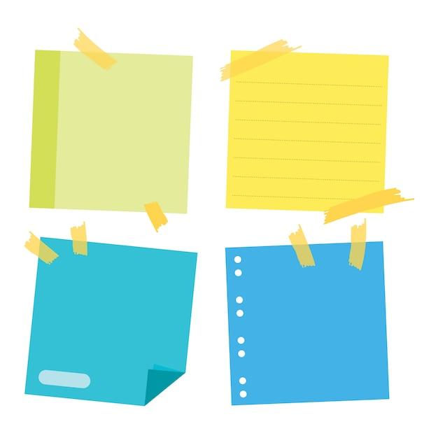 Coleção de lembretes. poste-o para notas de trabalho, lembrete para fazê-lo. coleção de adesivos de papel de escritório. Vetor Premium