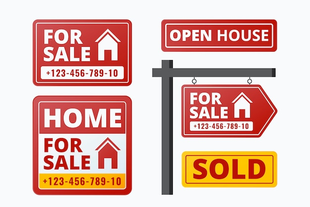 Coleção de letreiros imobiliários à venda Vetor grátis