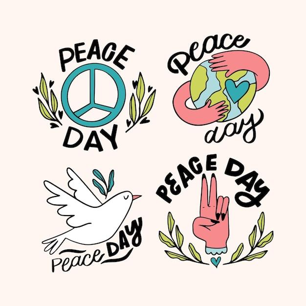 Coleção de lindos rótulos de dias da paz Vetor grátis