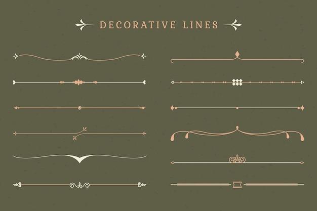 Coleção de linhas decorativas vintage Vetor grátis