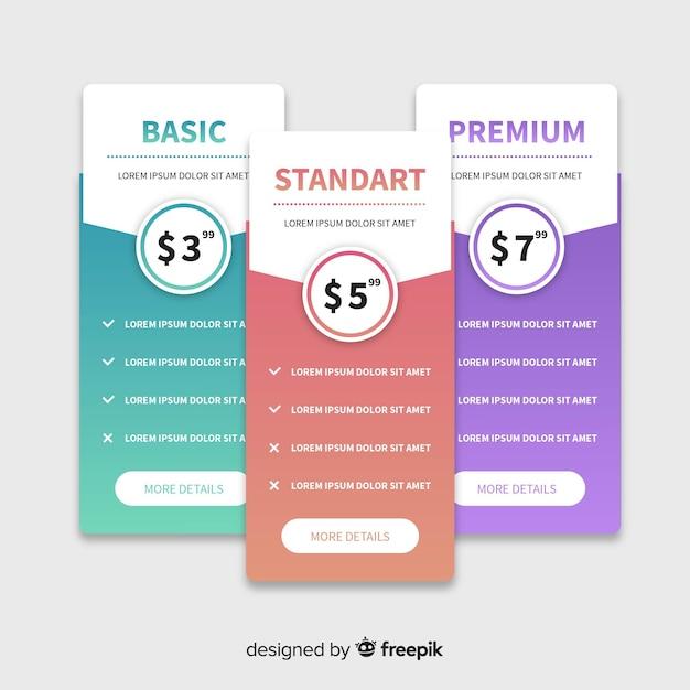 Coleção de lista de preços de gradiente Vetor grátis
