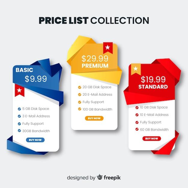Coleção de lista de preços plana Vetor grátis