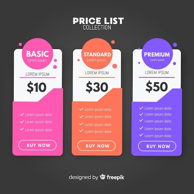 Coleção de lista de preços Vetor grátis