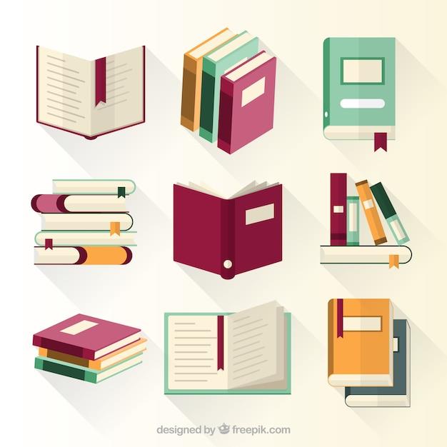 Coleção de livros educativos Vetor Premium