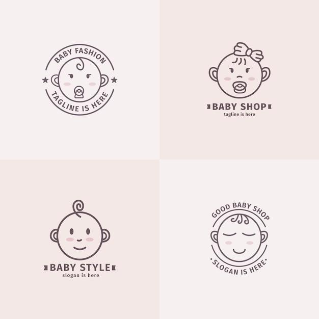 Coleção de logo de bebê Vetor Premium