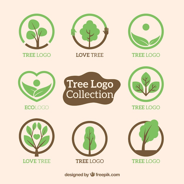 Coleção de logos de árvores em estilo plano Vetor grátis