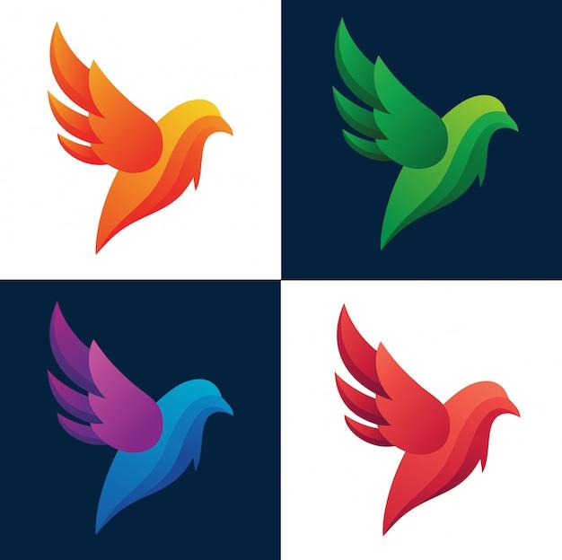Coleção de logotipo abstrato de silhueta colorida de aves Vetor Premium