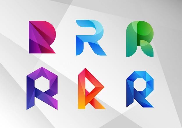 Coleção de logotipo abstrato gradiente r Vetor Premium