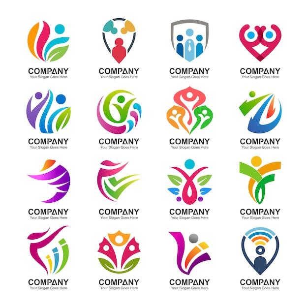 Coleção de logotipo abstrato pessoas Vetor Premium