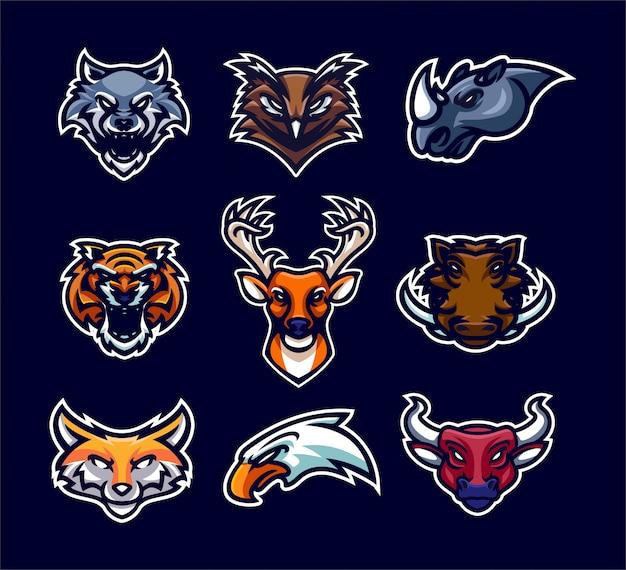 Coleção de logotipo animal mascote esporte premium Vetor Premium