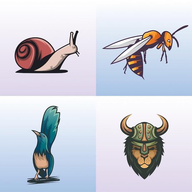 Coleção de logotipo animal moderno Vetor Premium