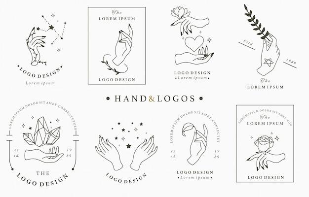Coleção de logotipo beleza boho com mão, rosa, cristal, coração, estrela. Vetor Premium