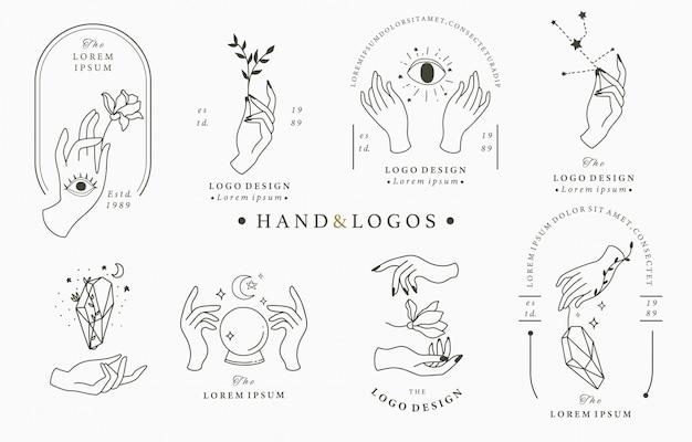 Coleção de logotipo beleza boho com mão Vetor Premium