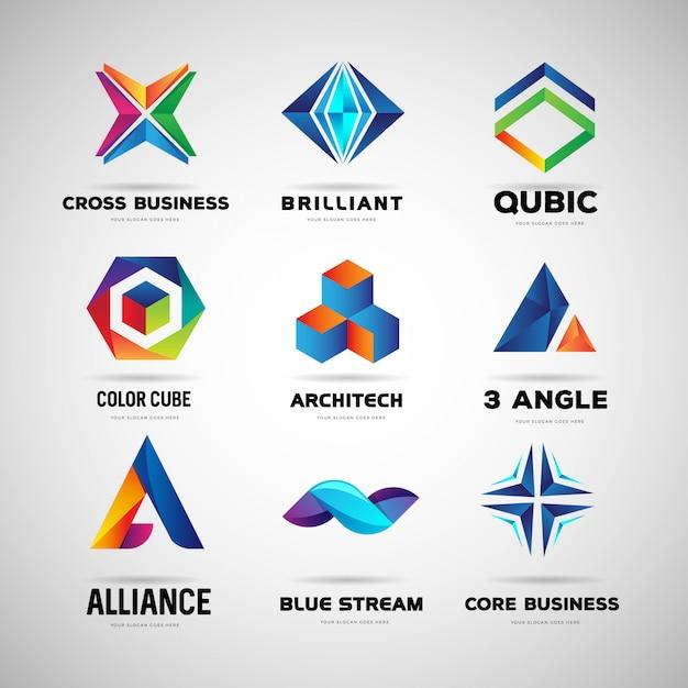 Coleção de logotipo colorido abstrato Vetor Premium