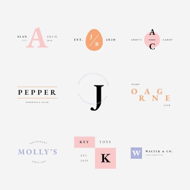 Coleção de logotipo com estilo minimalista de cores pastel Vetor grátis