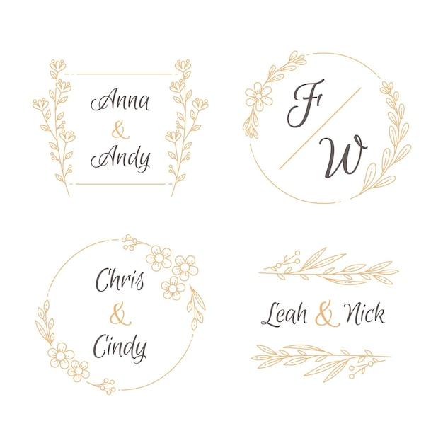 Coleção de logotipo com monograma de casamento desenhado à mão Vetor grátis
