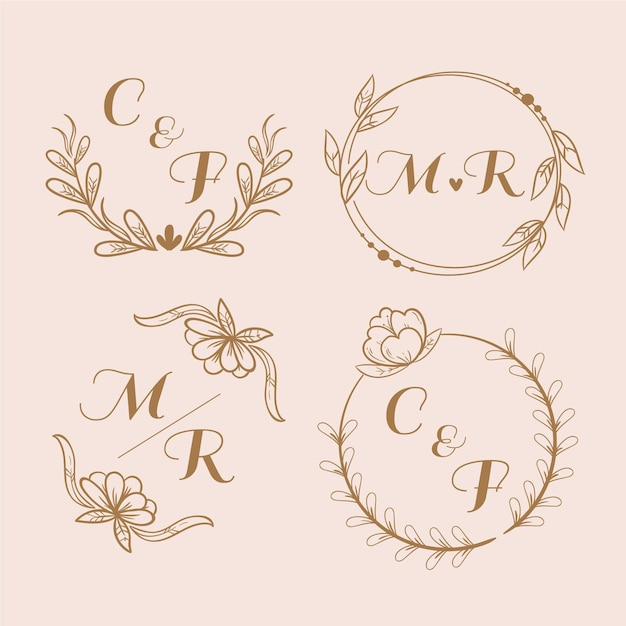 Coleção de logotipo com monograma de casamento Vetor grátis