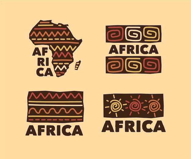 Coleção de logotipo da áfrica Vetor Premium
