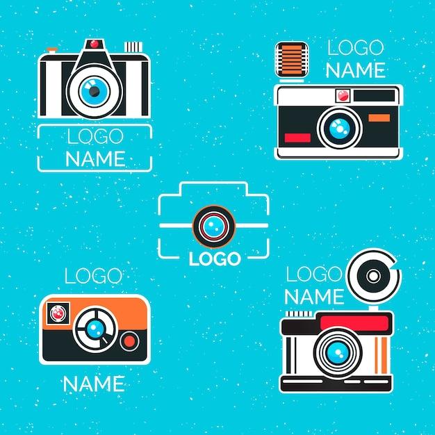 Coleção de logotipo da câmera vintage Vetor grátis
