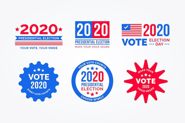 Coleção de logotipo da eleição presidencial dos eua de 2020 Vetor Premium