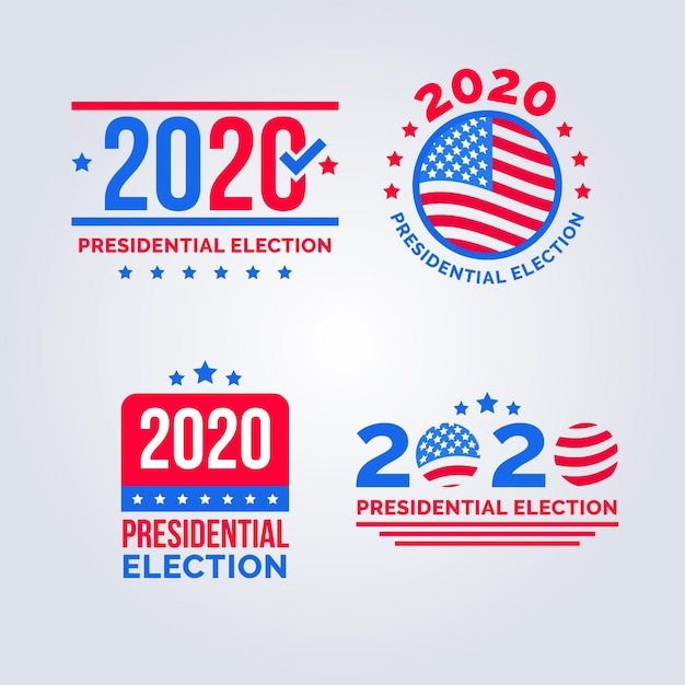 Coleção de logotipo da eleição presidencial dos eua de 2020 Vetor grátis
