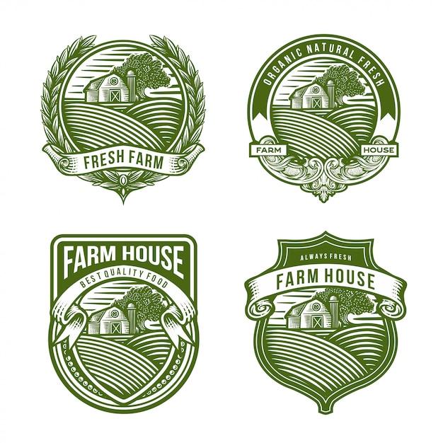 Coleção de logotipo da fazenda Vetor Premium