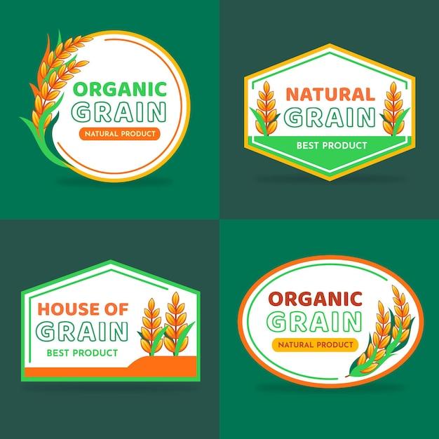 Coleção de logotipo da rice Vetor Premium