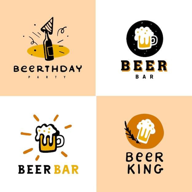 Coleção de logotipo de álcool de cerveja definido isolado no fundo branco. Vetor Premium