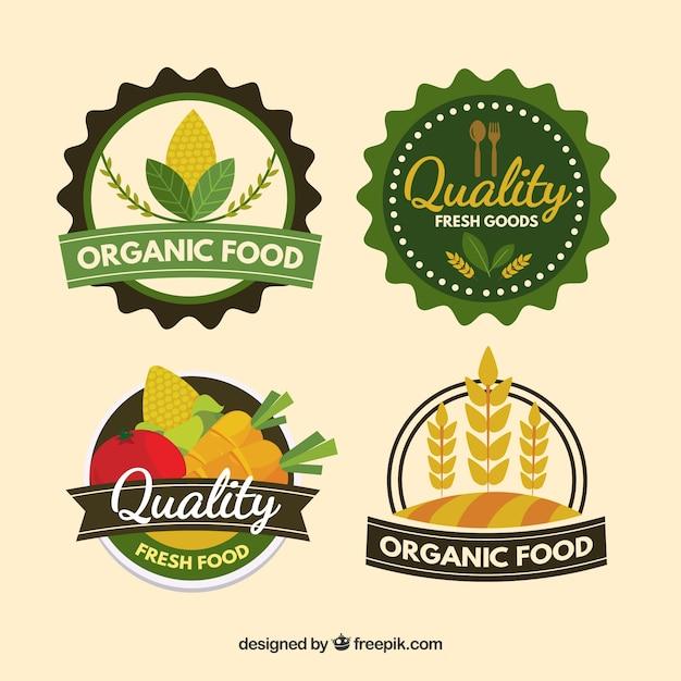 Coleção de logotipo de alimentos saudáveis Vetor Premium