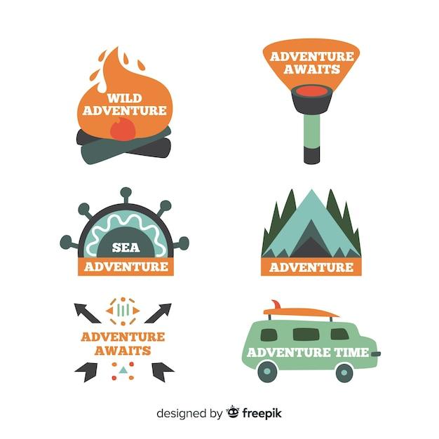 Coleção de logotipo de aventura desenhada de mão Vetor grátis