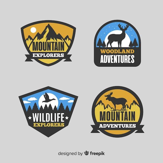 Coleção de logotipo de aventura Vetor Premium
