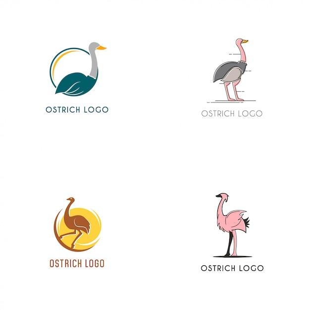 Coleção de logotipo de avestruz Vetor Premium