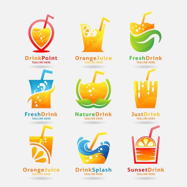 Coleção de logotipo de bebida fresca Vetor Premium