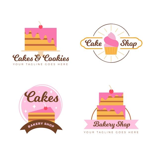 Coleção de logotipo de bolo de padaria Vetor grátis