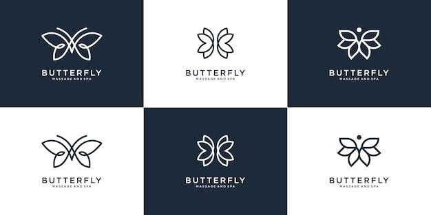 Coleção de logotipo de borboleta de beleza com estilo de arte Vetor Premium