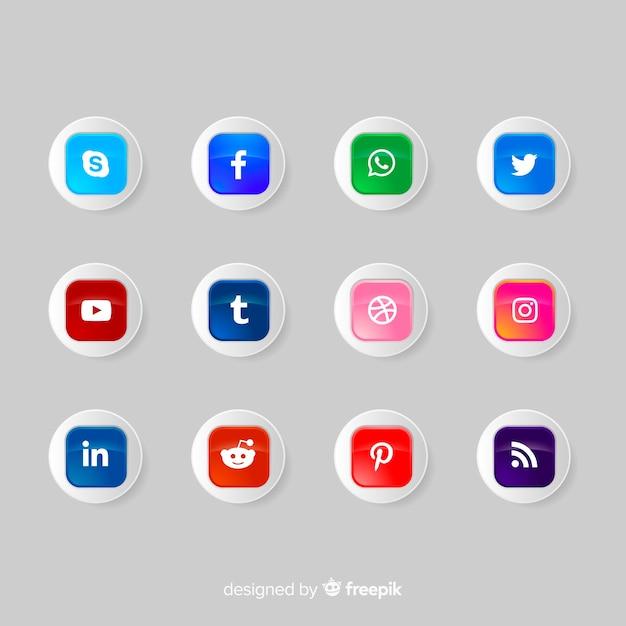 Coleção de logotipo de botões de ícone de mídia social Vetor grátis