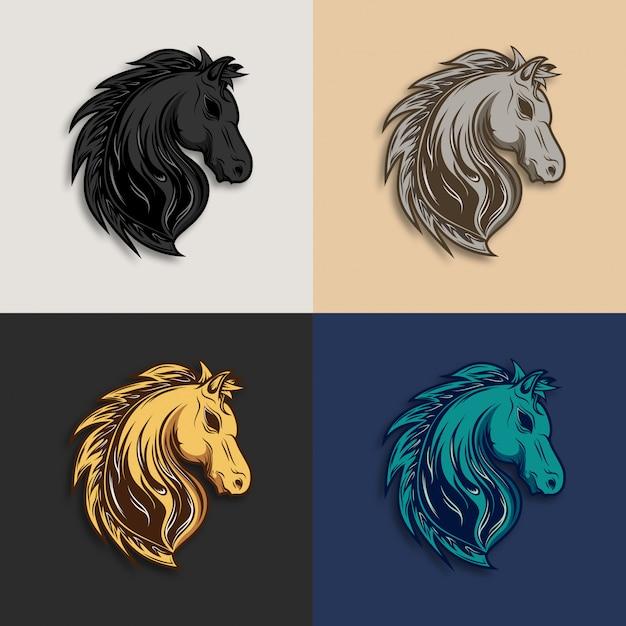 Coleção de logotipo de cabeça de cavalo Vetor Premium