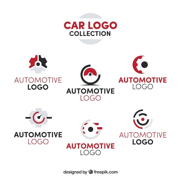 Coleção de logotipo de carro vermelho e branco Vetor grátis